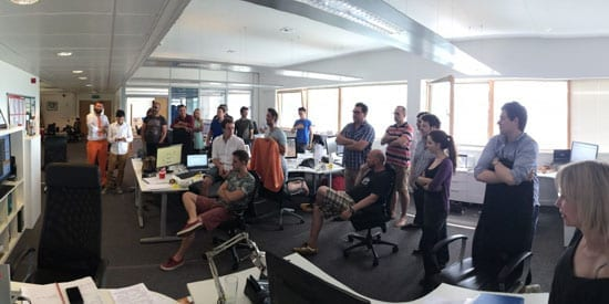 The Crowdcube team watching their firm achieve a record breaking raise