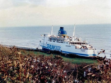 The Hengist passenger ferry was washed up on to the shores of the The Warren in Folkestone during The Great Storm of 1987