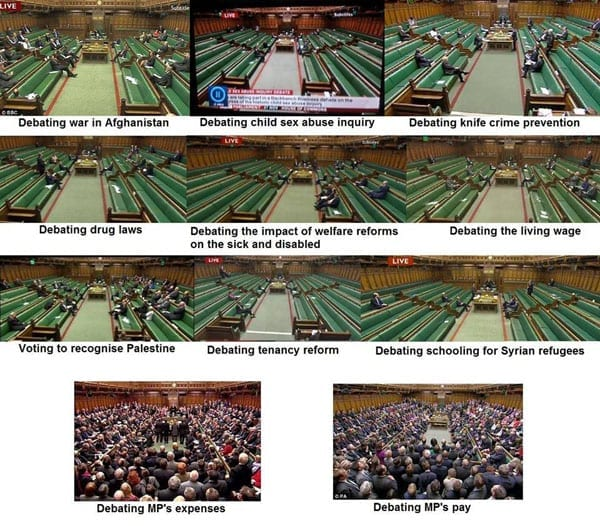 The House of Commons during different debates