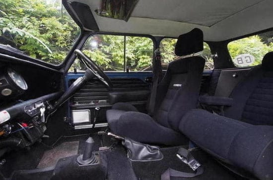 The Mini was modified to include a Rolls-Royce passenger seat for Moulton