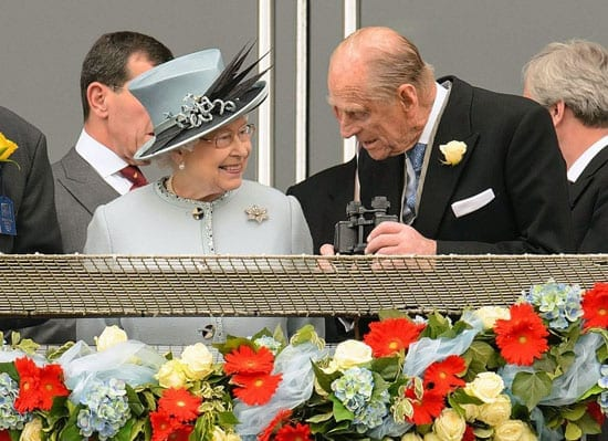 Her Majesty The Queen pictured yesterday at the Derby with her husband, Prince Philip, Duke of Edinburgh