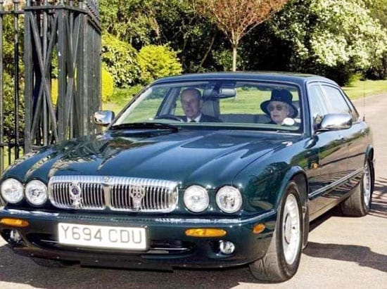 The Queen and Prince Philip in the 2001 long wheelbase Daimler Super V8