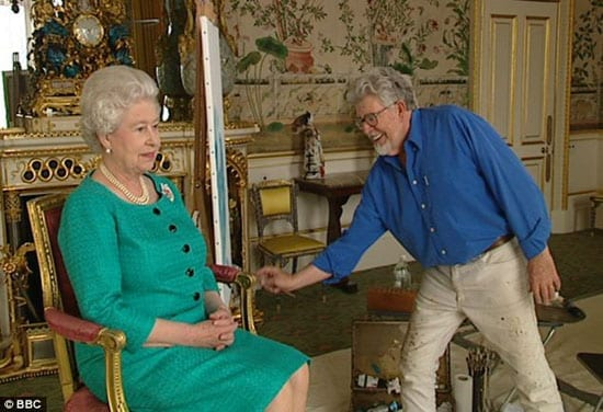 Rolf Harris paints Her Majesty the Queen in 2006 at Buckingham Palace