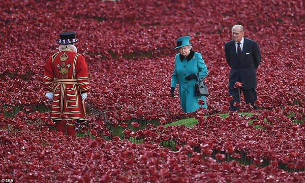 The Queen and Prince Philip visit Blood Swept Lands and Seas of Red