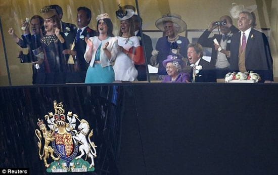 The Queen celebrates Estimate's victory with family and friends