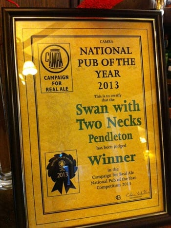 The Swan with Two Necks won the Camra National Pub of the Year 2013 recently