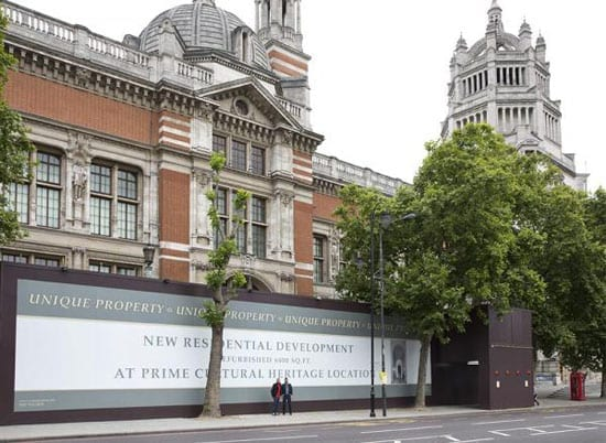 The V&A's hoarding announces that a refurbished 6000 square foot property is for sale through the fictional company Crown Property Investment Group (© V&A Images)