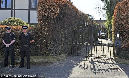 Police officers were photographed outside William Roache's home, The White House, Meadow Way, Wilmslow, Cheshire, SK9 6JL, this morning