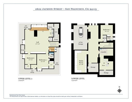 The basement and second floor level plans llustrate how the building has been adapted for 21st century living
