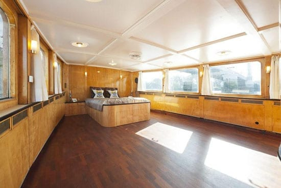 The boat's bedroom could easily be subdivided