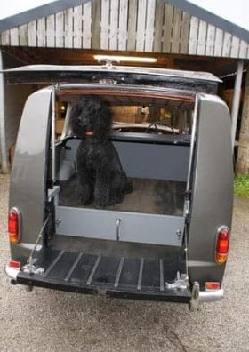 The car can easily accommodate a poodle or a coffin