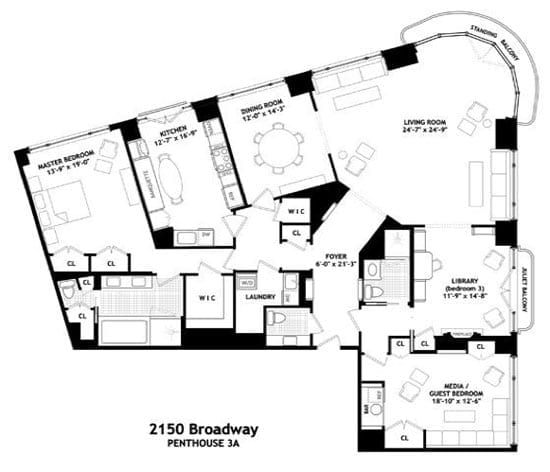The current floor plan of the apartment provides just one bedroom and acres of entertaining space
