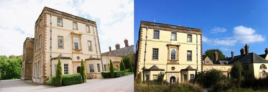 The deterioration of the main house is apparent in these two images