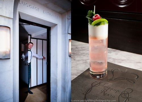 The entrance to The Luggage Room and the cocktail that was served to guests
