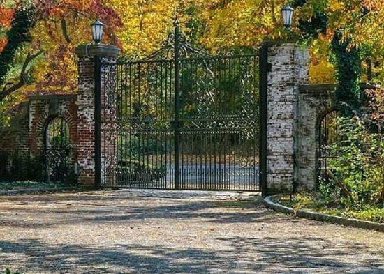 The estate boasts a suitably grand pair of entrance gates