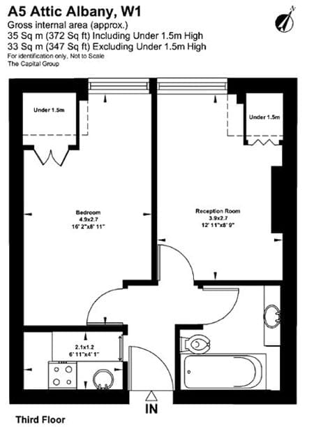 The floor plan shows the 372 square foot space (and that it has limited headroom)