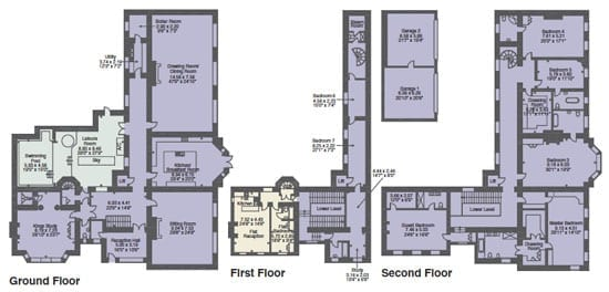 The floor plan of the 12,823 square foot property
