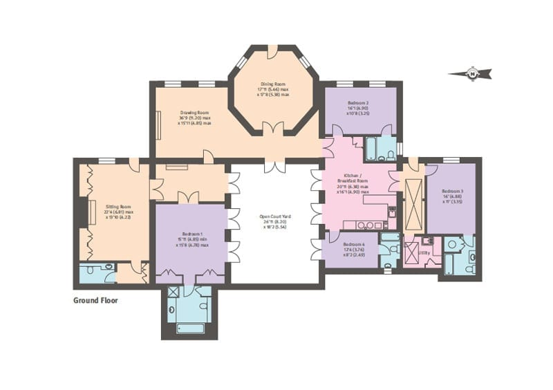 The floor plan of the main house