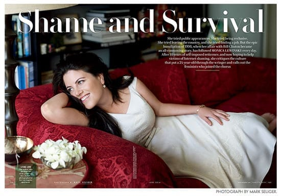 """The forthcoming 'Vanity Fair' article by Monica Lewinsky: """"Shame and Survival"""""""