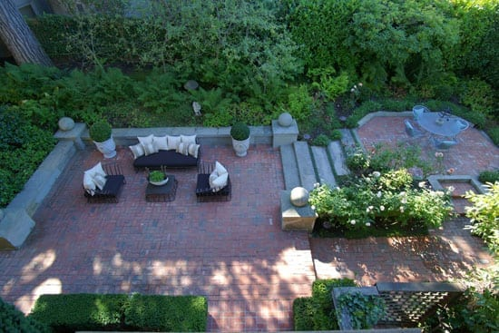 The gardens include a number of terraced seating areas