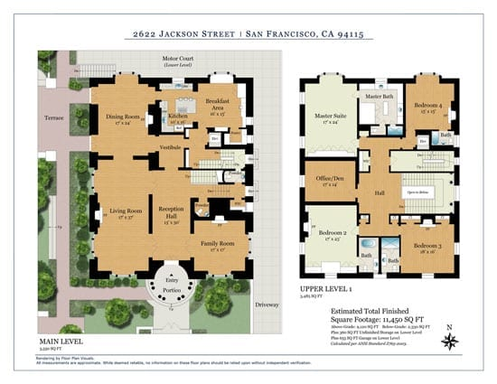 The ground and first floor plans illustrate the well designed accommodation architect Willis Polk created