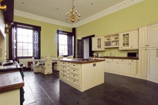 The house has been partly modernised and includes features such as this modern kitchen