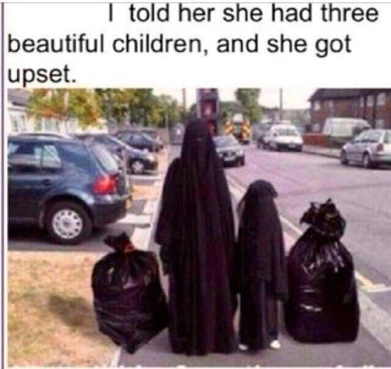 The image of a burka clad woman and her daughter alongside two bin bags has gone viral on Facebook