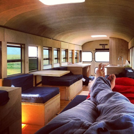 The interior of the bus provides a most flexible space for living working and sleeping