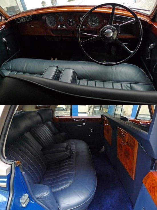 The interior of the car has been retrimmed in dark blue hide