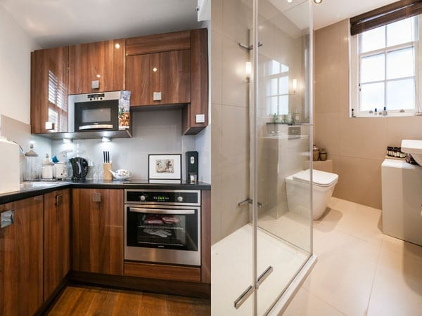 The kitchen and shower room are compact but workable