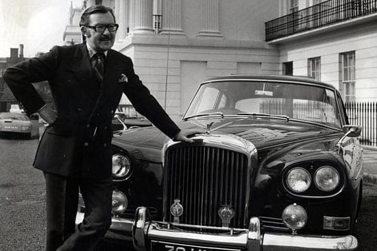 The late Alan Whicker with his Bentley Continental S3