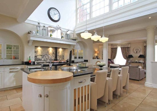The main house includes an impressive kitchen