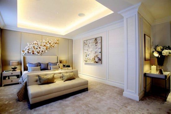 The master bedroom suite is a similar size to a conventional one bedroom flat