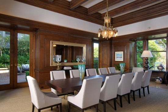 The paneled dining room comfortably seats twelve