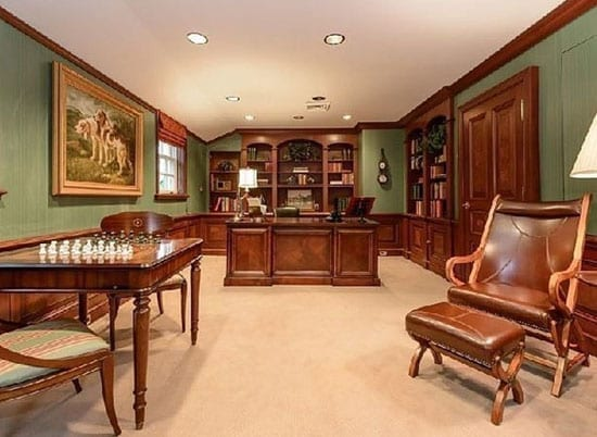 The property's study is especially masculine in its decor