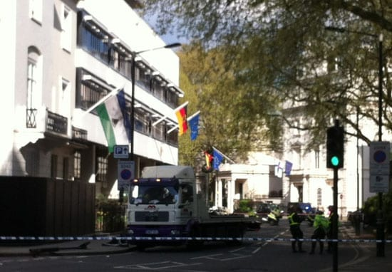 The scene of the accident next to the German Embassy