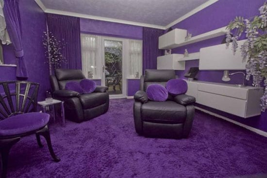 The sitting room starts the theme off with a most enthusiastic use of purple dominating the decor scheme