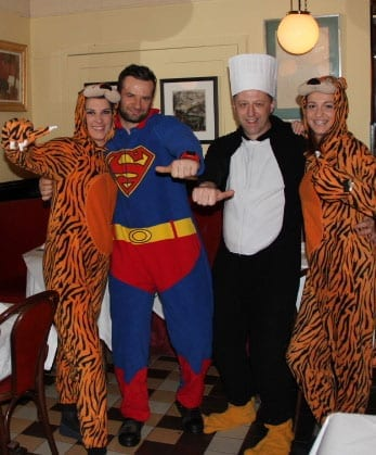 The staff of La Brasserie try out their onesies