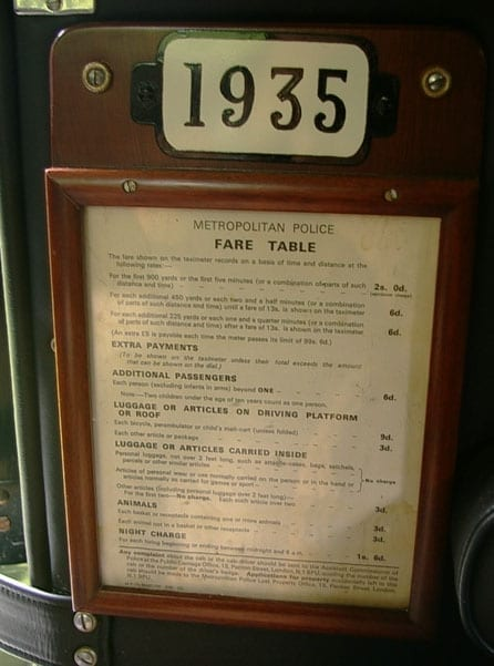 The vehicle features an original fare table
