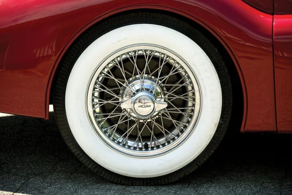 The whitewall tyres contrast perfectly with the red paintwork