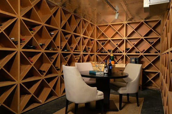 The wine cellar is rather lacking in stock but certainly large enough to house an extensive collection