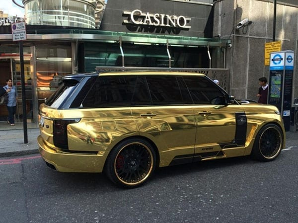 There is more gold on this Range Rover than in the casino next to which it is parked
