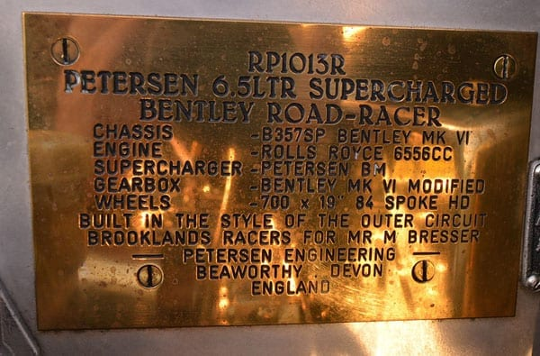This plaque shares details of the car's specification and heritage