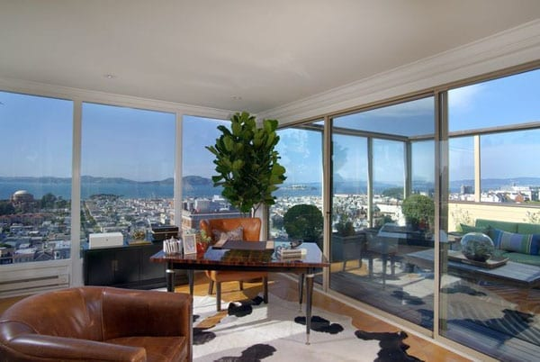 This top floor den is certainly a room with a view