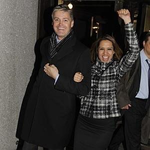 Thomas Derbyshire and Faith Zaman celebrate as they leave court in 2010