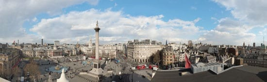 The view across Trafalgar Square in the daytime