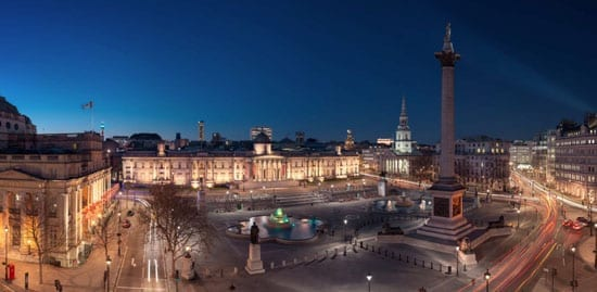 The view across Trafalgar Square at night