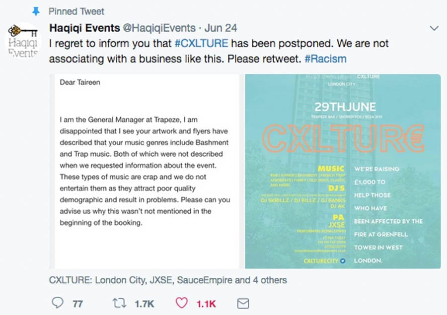 """A Shoreditch Shocker – Trapeze Bar branded """"racist"""" after telling charity event organisers their fundraiser for Grenfell Tower survivors will attract a """"poor quality demographic"""""""