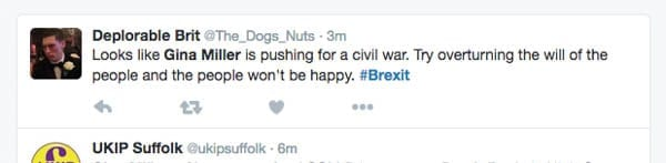 Trolling Brexit – Twitter users troll Gina Miller and her challenge to Article 50 at the High Court, Thursday 13th October 2016