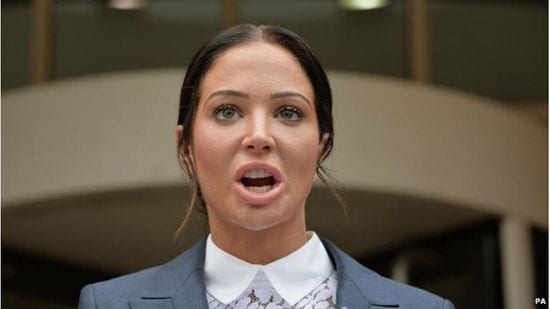 Tulisa Contostavlos expresses her outrage after her conviction for assault outside Stratford Magistrates' Court on Friday 25th July 2014